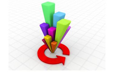 3d financial chart.