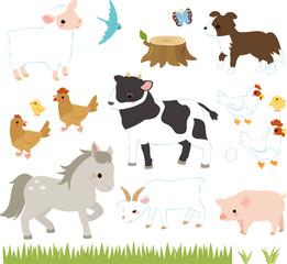 牧場の牛、豚、鶏と動物たち