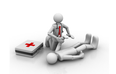 First aid. doctor and patient.