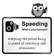 Monochrome comical motorist speeding sign