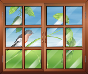 A window with a view of the bird at the stem of a plant