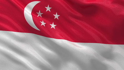 Flag of Singapore waving in the wind - seamless loop