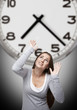 Clock and woman with grey background