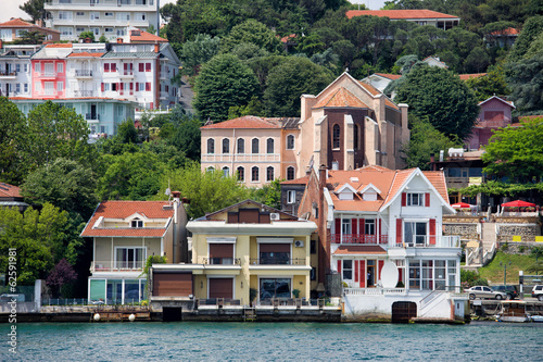 Waterside Houses Along The Bosphorus Strait