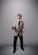 funny man juggling with copy space