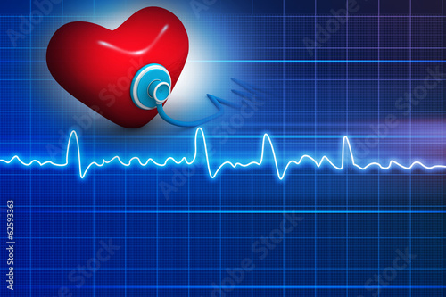 Cardiogram, love and stethoscope on abstract background  .