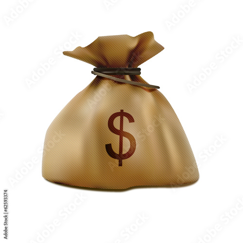 Bag of money colorful realistic icon