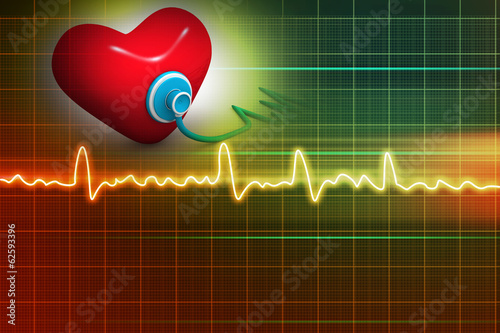 Cardiogram, love and stethoscope on abstract background