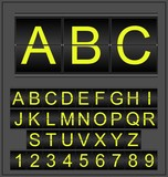 Mechanical scoreboard letters and numbers alphabet . Vector set