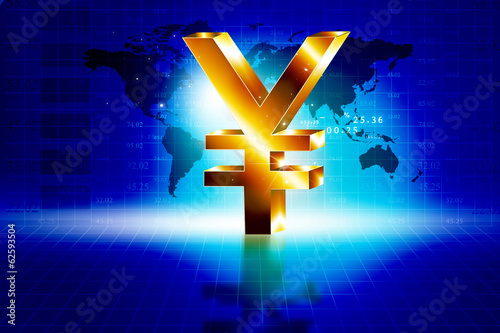 3d golden Yen sign with world