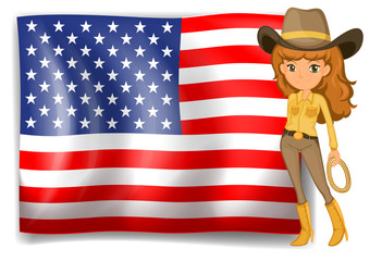 A cowgirl and the United States of America flag