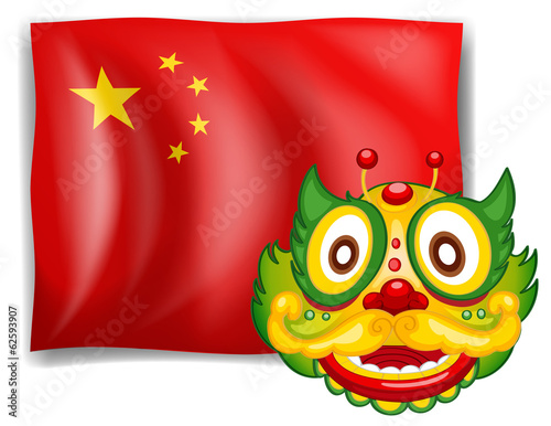 A dragon and the Chinese flag