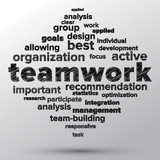 Teamwork and strategy concept sketched in word tag cloud.