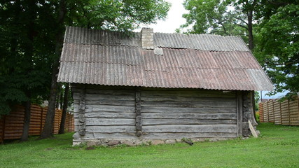 Old rural country wooden house in village