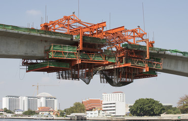 Bridge construction over a river. Bangkok Thailand