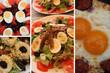 Oeufs : Mimosa ; Salade niçoise; à la poêle . . . . .