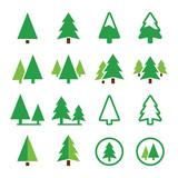 Fototapety Pine tree, park vector green icons set