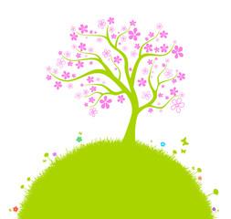 Bunte Blumenwiese mit Baum