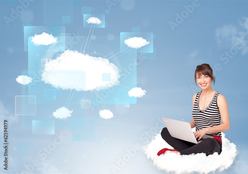 Happy girl looking at modern cloud network