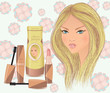Blond girl's face with cosmetics: shampoo, mascara and lipstick