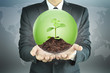 Businessman holding green sapling with soil inside the sphere