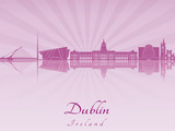 Dublin skyline in purple radiant orchid