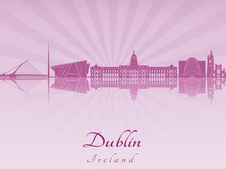 Dublin skyline in purple radiant orchid