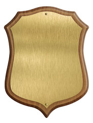 golden shield diploma in wooden frame isolated on white backgrou
