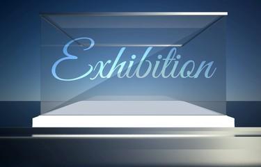 Exhibition empty glass showcase for exhibit