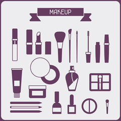 Set of cosmetics icons in flat style.