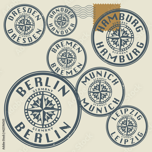 Grunge rubber stamp set with names of Germany cities