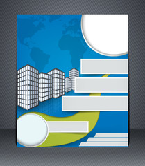 Blue business flyer or brochure. Design template with the city
