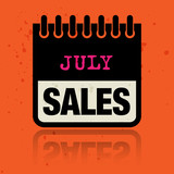 Calendar label with the words July Sales written inside