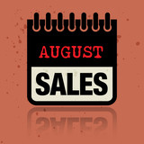 Calendar label with the words August Sales written inside
