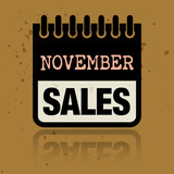 Calendar label with the words November Sales written inside
