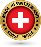 Made in Switzerland gold label, vector illustration