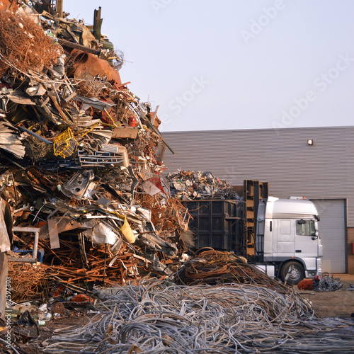 Metal scrap yard with Truck in the industrial area