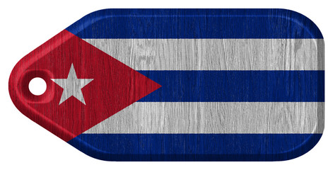 Cuba flag painted on wooden tag