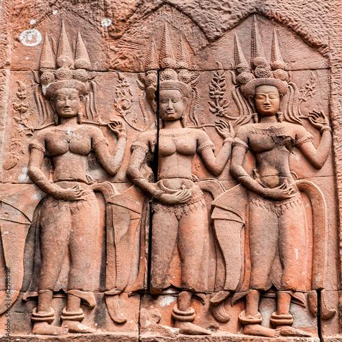 Devatas typical of Angkor Wat
