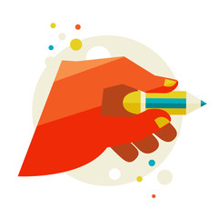 Man's hand holding a pencil. Flat design modern vector