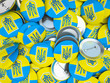 Buttons with Ukraine flag