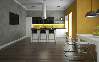 Interior of a modern kitchen and dining room