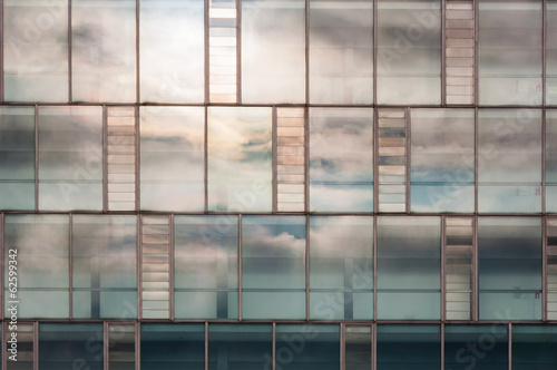 Window with cloud reflection