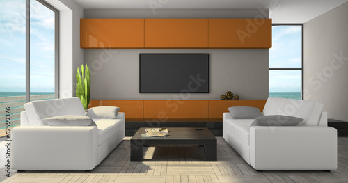 Modern interior with orange cabinet and seaview