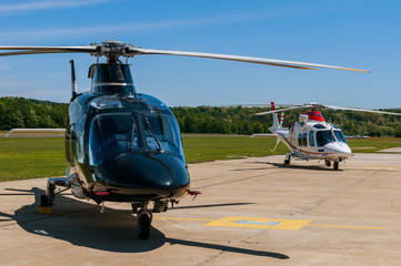 Helicopters on an airfield