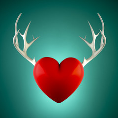 Red heart with antlers on a turquoise background
