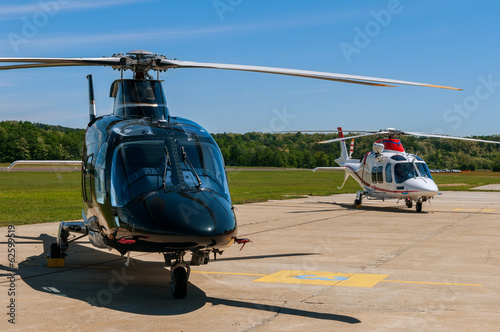 Foto op Canvas Helicopter Helicopters on an airfield
