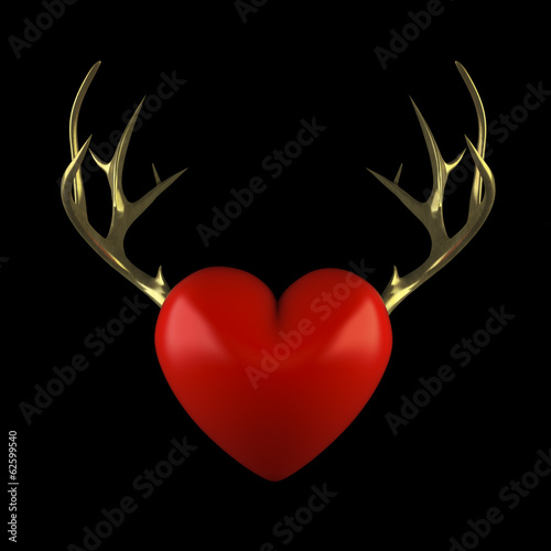 Red heart with gold antlers on a black background