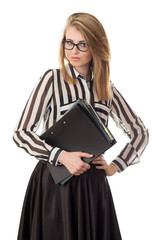 young secretary holding folders with documents