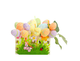 Colorful painted easter eggs in funny basket